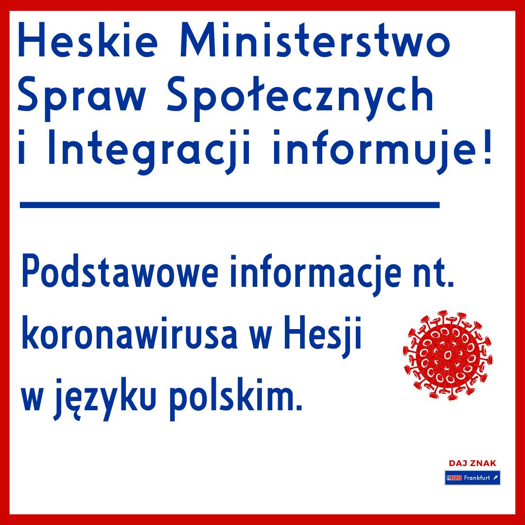Podstawowe informacje nt. koronawirusa w Hesji w języku polskim