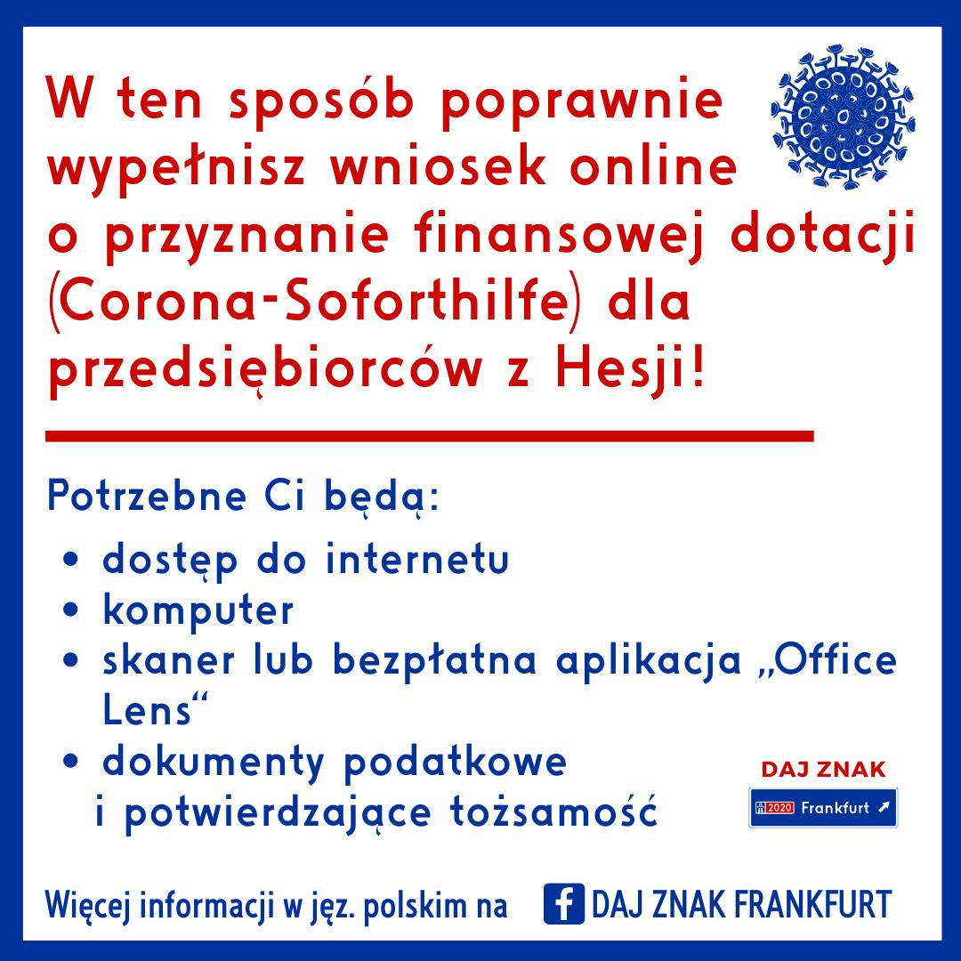 Dotacja dla przedsiębiorców w Hesji w ramach Corona-Soforthilfe
