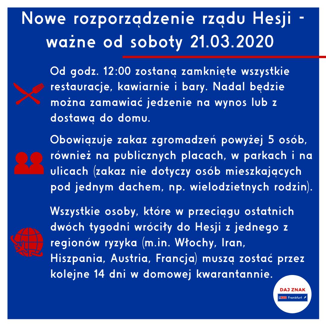 Nowe rozporządzenie rządu Hesji - ważne od soboty 21.03.2020