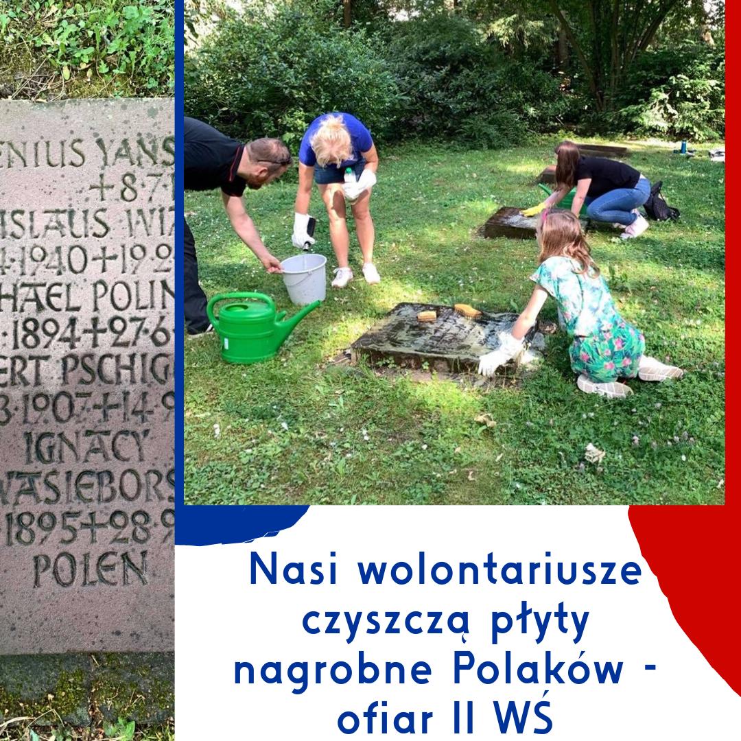 Czyszczenie płyt nagrobnych Polaków - ofiar II wojny światowej