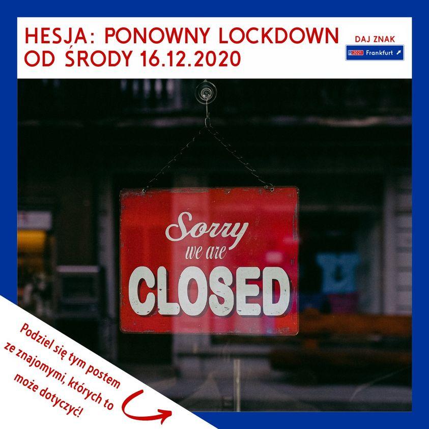 Ponowny lockdown w Hesji od środy 16.12.2020