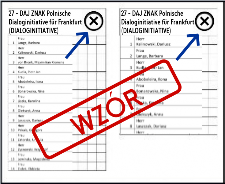 Wzór karta do głosowania Daj Znak Frankfurt