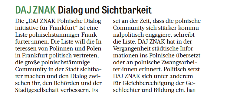 Daj Znak. Dialog und Sichtbarkeit_Frankfurter Rundschau
